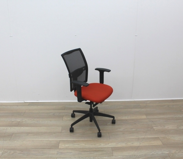 Mesh Back and Red Fabric Seat Operator Chair