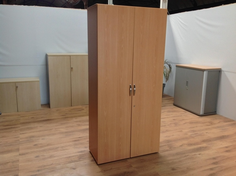 Beech Tall Double Door Office Storage Cupboard