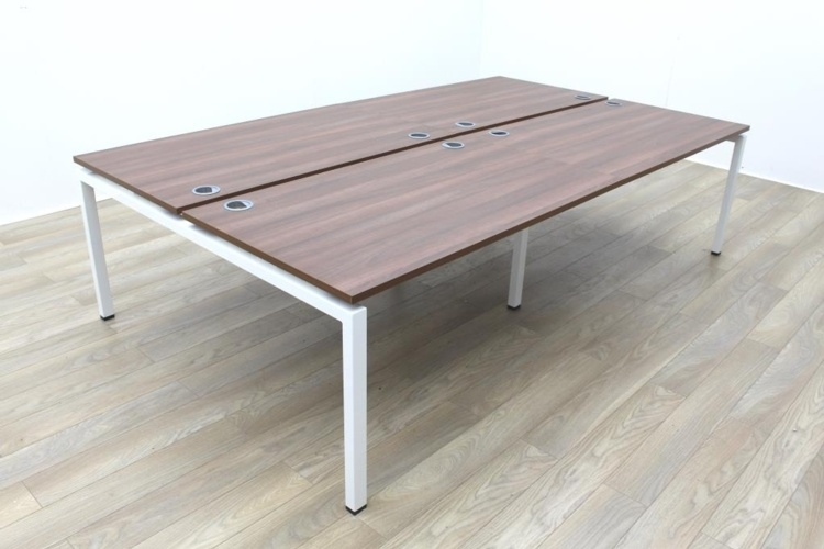 New Mobili Soho 2 Walnut Commercial Grade Office Bench Desking