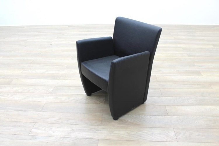 Task Black Leather Office Reception Tub Chair