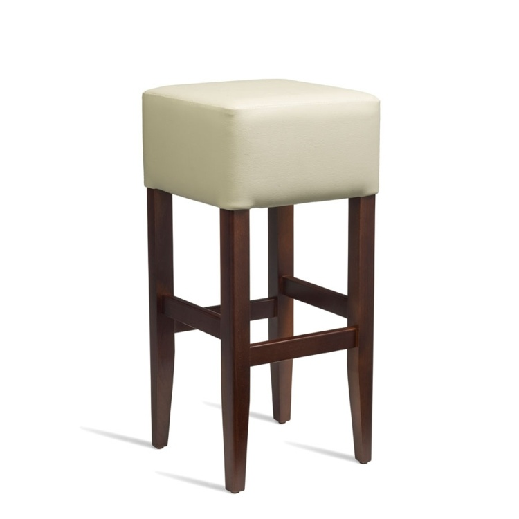New HEAT Solid Beech Walnut Finish Cream Faux Leather Bar Stool