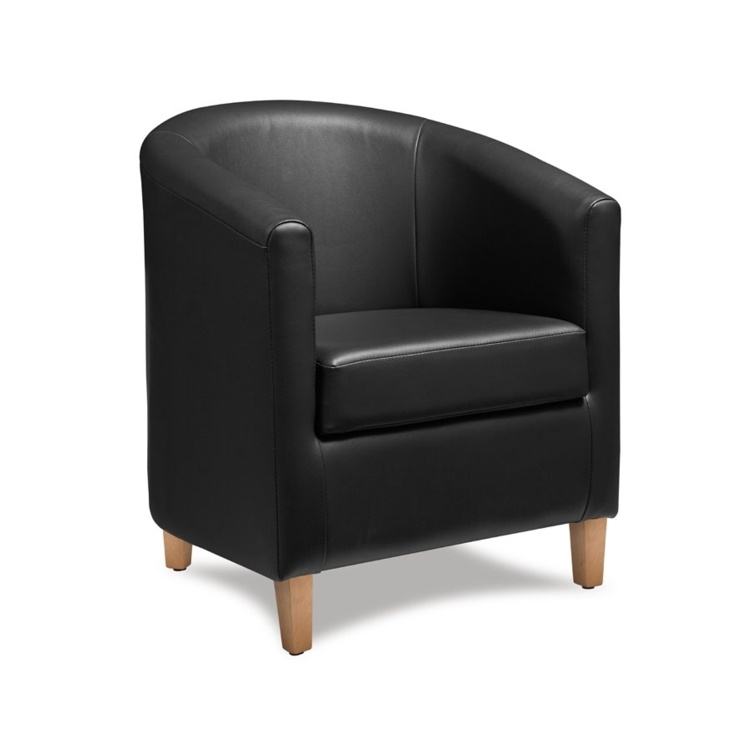 New BAY Black High Quality Faux Leather Tub Chair