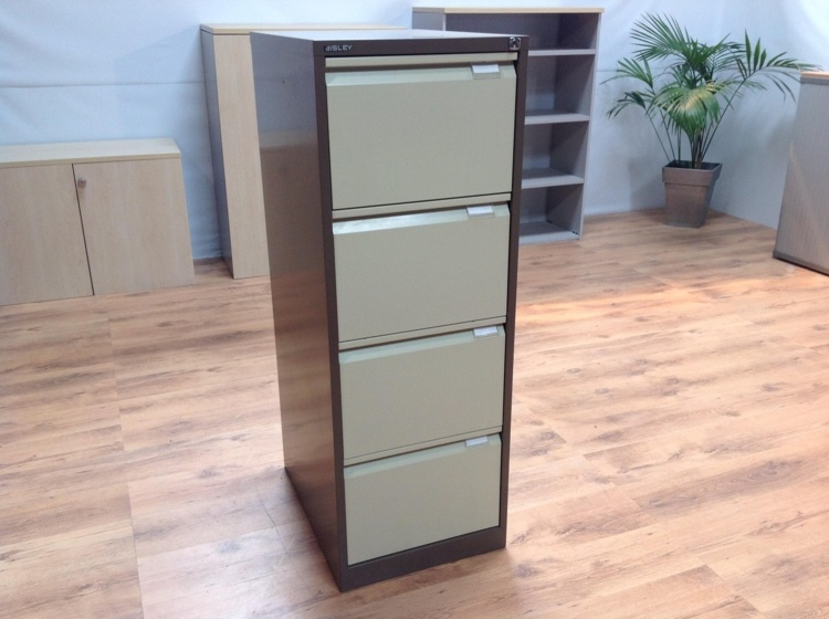 Bisley Coffee / Cream Metal 4 Drawer Office Filing Cabinets