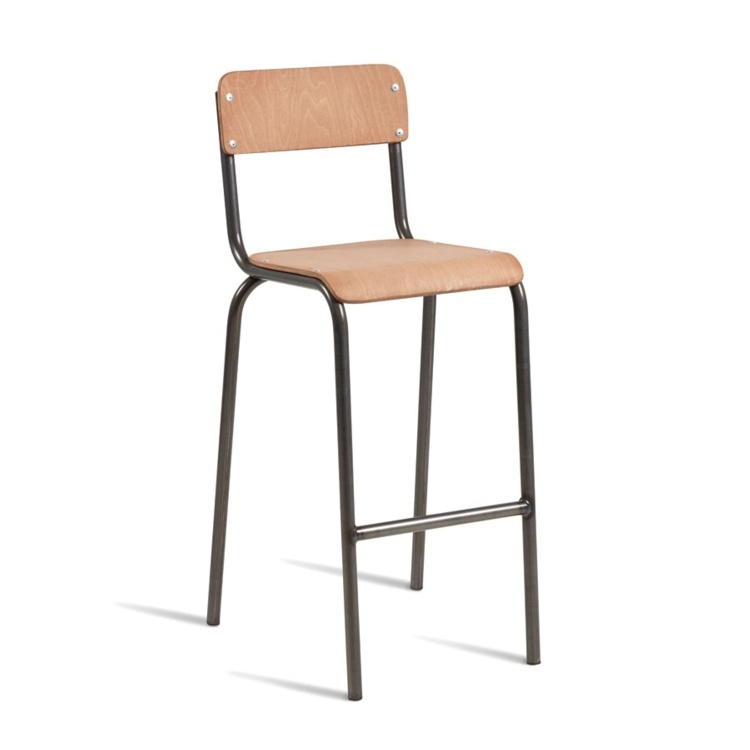 New TUBE Natural Finish Powder coated steel effect frame Stool