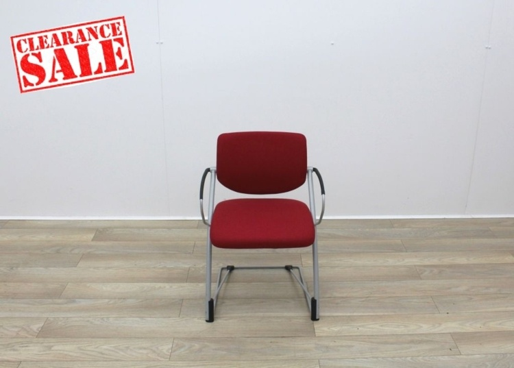 Red Fabric Meeting Chairs With Grey Frame
