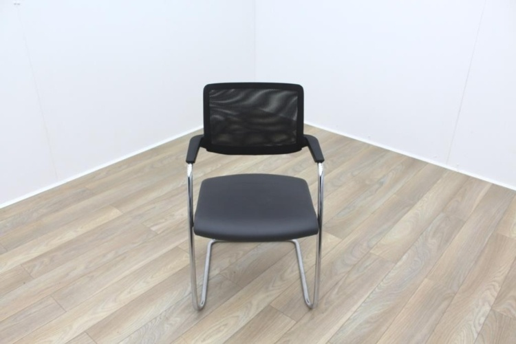 Brunner Black Mesh Back Grey Leather Seat Meeting Chair