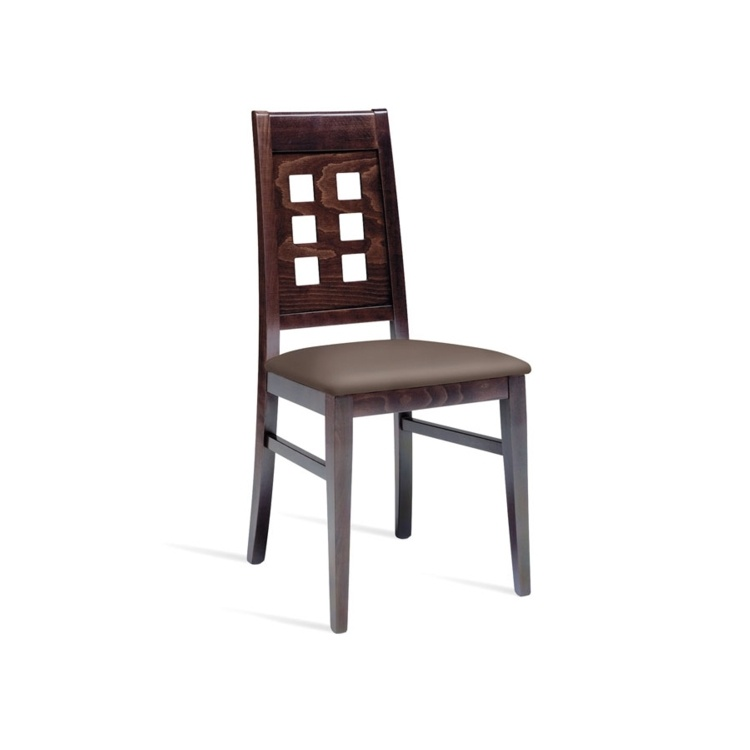 New DICE Wenge with Dark Brown Faux Leather seat Pad Italian highback designer Side Chair