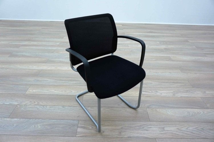 Black Mesh / Fabric Cantilever Office Meeting Chairs