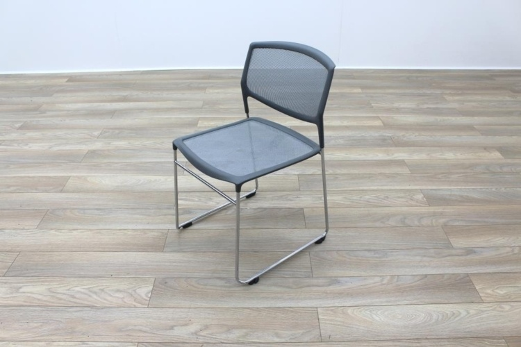 Grey Mesh / Chrome Frame Cantilever Office Canteen / Meeting Chairs