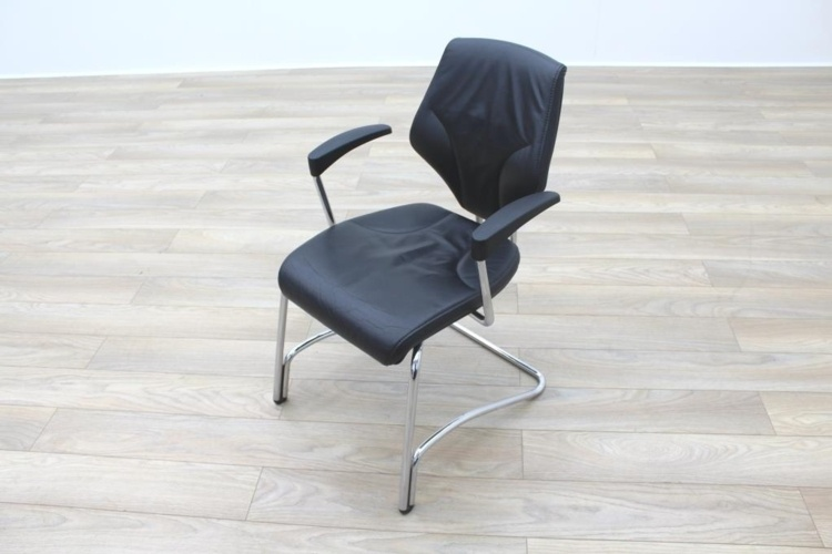 Giroflex 16 Series Black Leather Cantilever Office Meeting Chairs