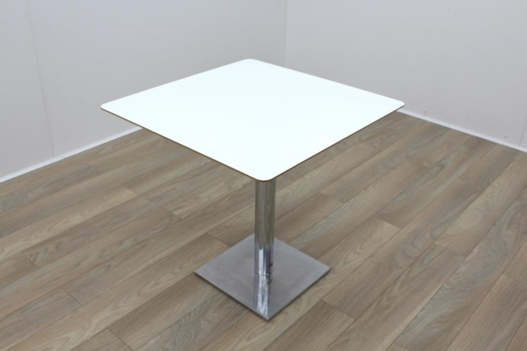 Square White Coffee Table Cherry Edge 750mm