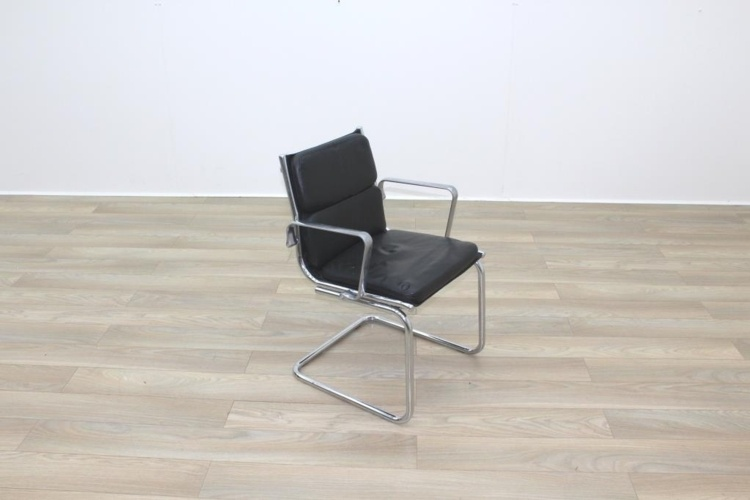 Charles Eames Soft Pad Style Black Leather Cantilever Office Meeting Chair