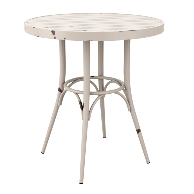 New Cafe White Aluminium Vintage Finish Canteen Café Round Table