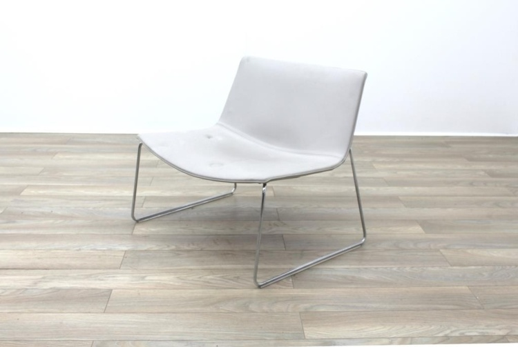 Arper Catifa 80 Sled Grey Leather Reception Chair