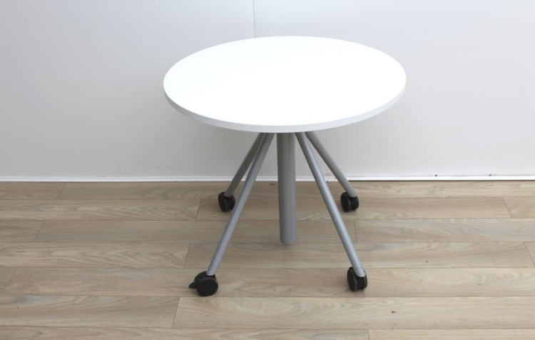 Senator Height Adjustable Circular White 800mm Office / Meeting Table