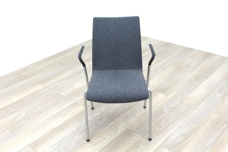 Brunner Light Grey Fabric Meeting Chair with Armrests