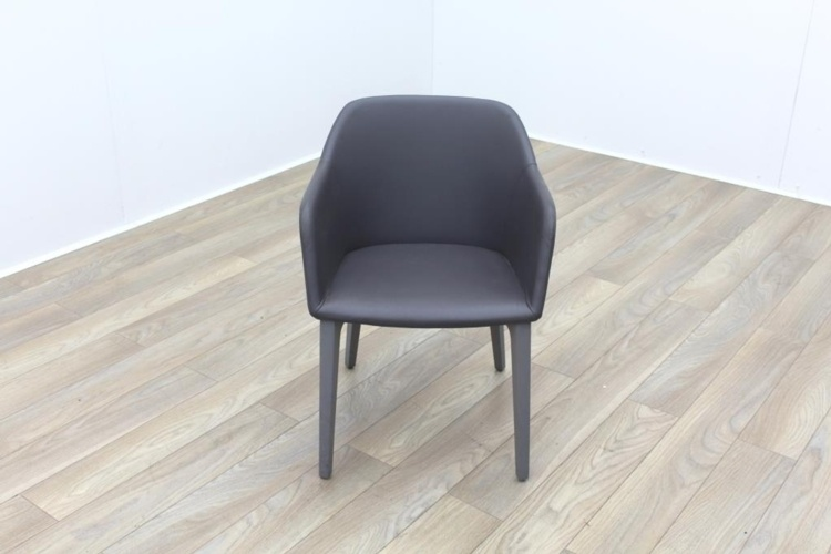 Brunner Light Grey Leather Grey Wooden Frame Reception Tub Chair