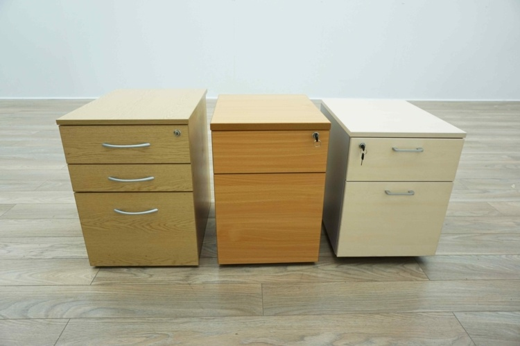 All Sizes & Finishes - Wooden Mobile Under Desk Office Pedestals