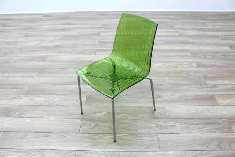 Frovi Green Transparent Plastic / Chrome Frame Canteen Chairs