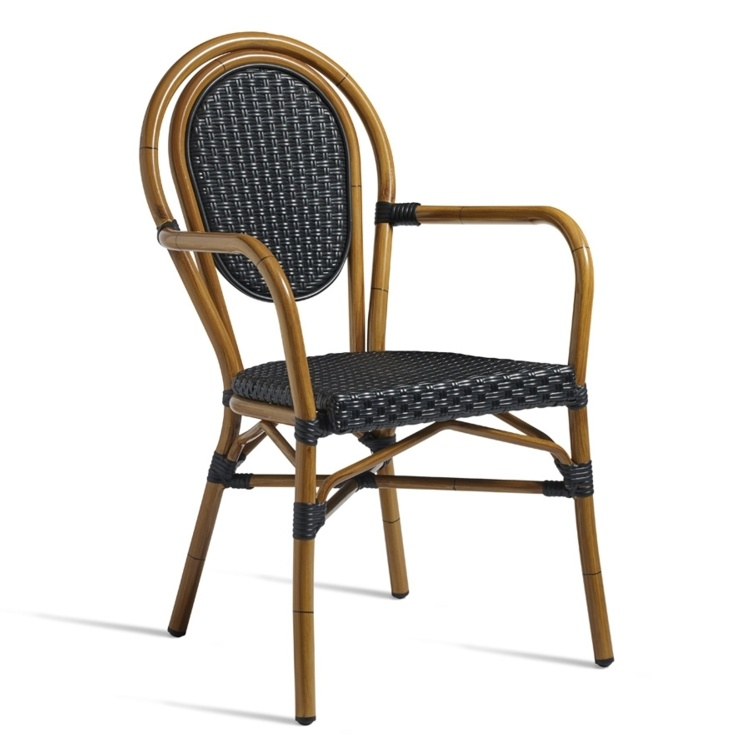 New Black Aluminium Cane Effect Wicker Weave Canteen Cafe Bistro Dining Chairs