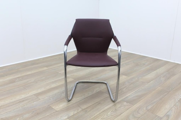Brunner Burgundy Leather Cantilever Meeting Chair