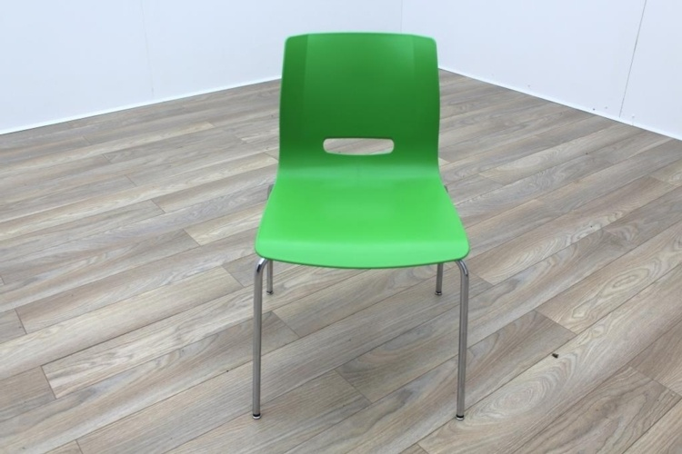 Allermuir Casper Green Shell Chrome Frame Office Meeting / Canteen Chairs