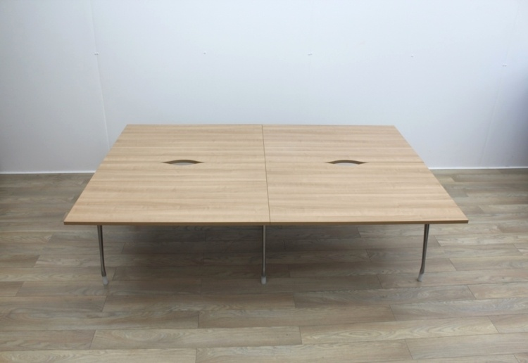 Herman Miller Bench Desking With Walnut Tops And Chrome Legs