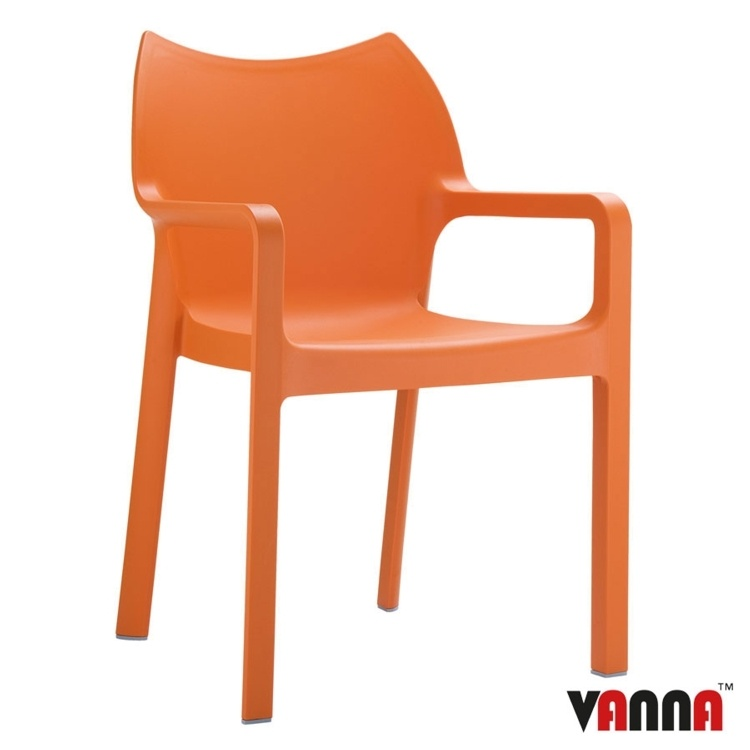 New Orange Moulded Plastic Stacking Office Canteen Cafe Bistro Meeting Arm Chairs