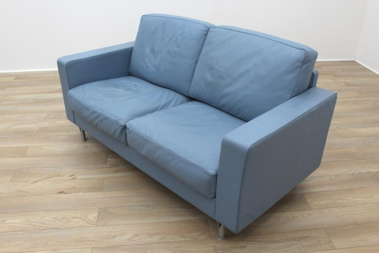 Poltrona Frau Blue Leather Executive Office Sofa