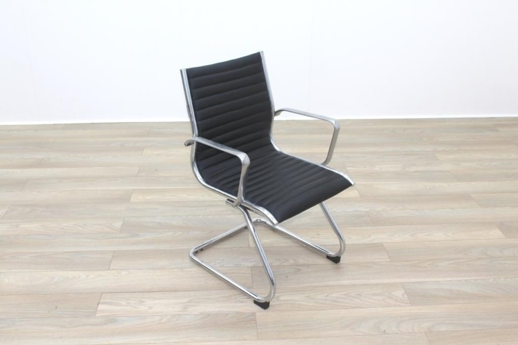 New Black Ribbed Leather Cantilever Office Meeting Chair