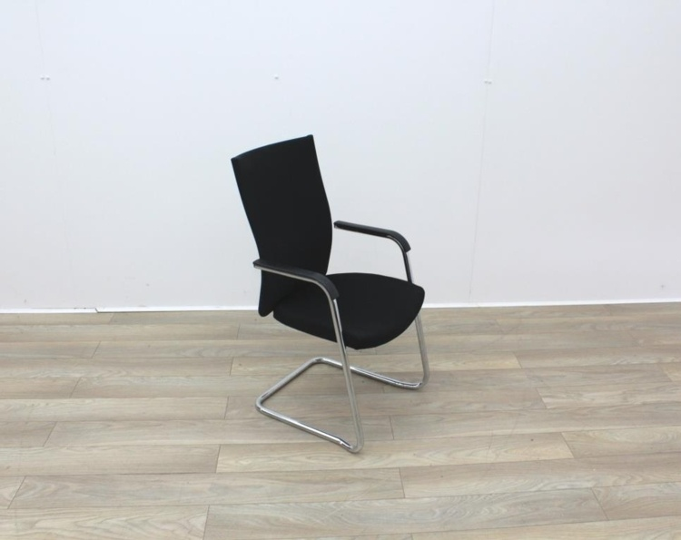 Black Stacking Meeting Chairs With Chrome Frame
