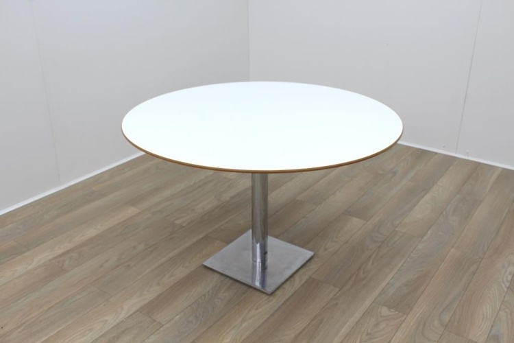 White Round Table Cherry Edge 1200mm