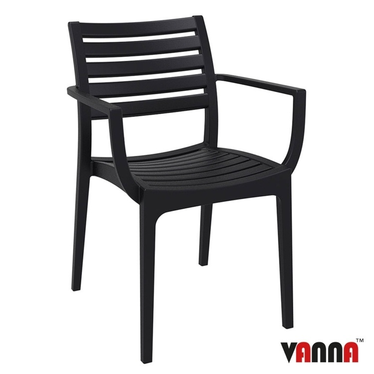 New Black Reinforced Polypropylene Stacking Office Canteen Cafe Bistro Arm Chairs