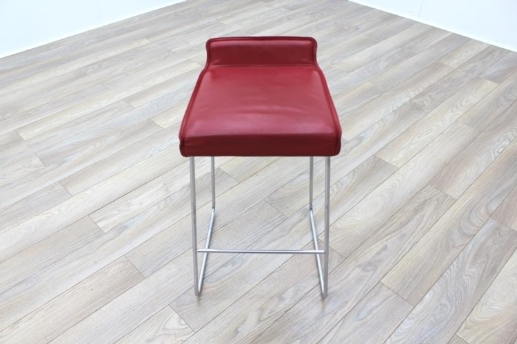 Allermuir Tommo Red Leather Chrome Base Canteen Bar Stools