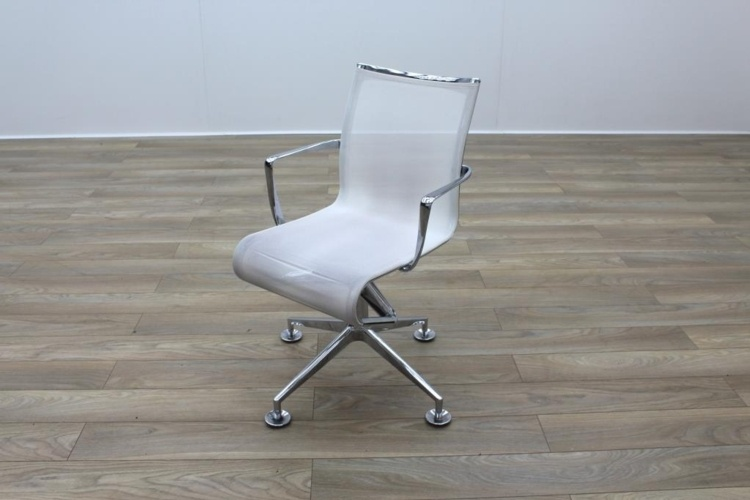 Alias Chrome Base White Mesh Office Meeting Chairs