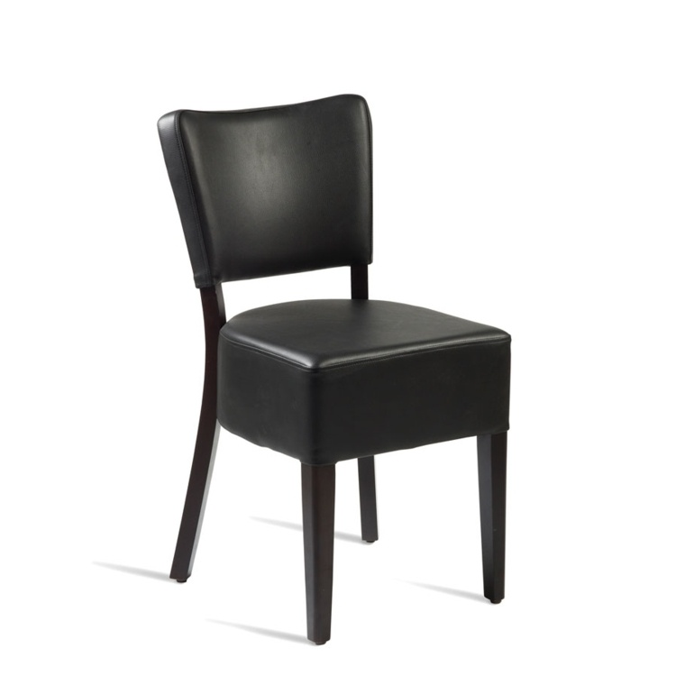 New CLUB Wenge Black high quality faux leather Luxurious side chair
