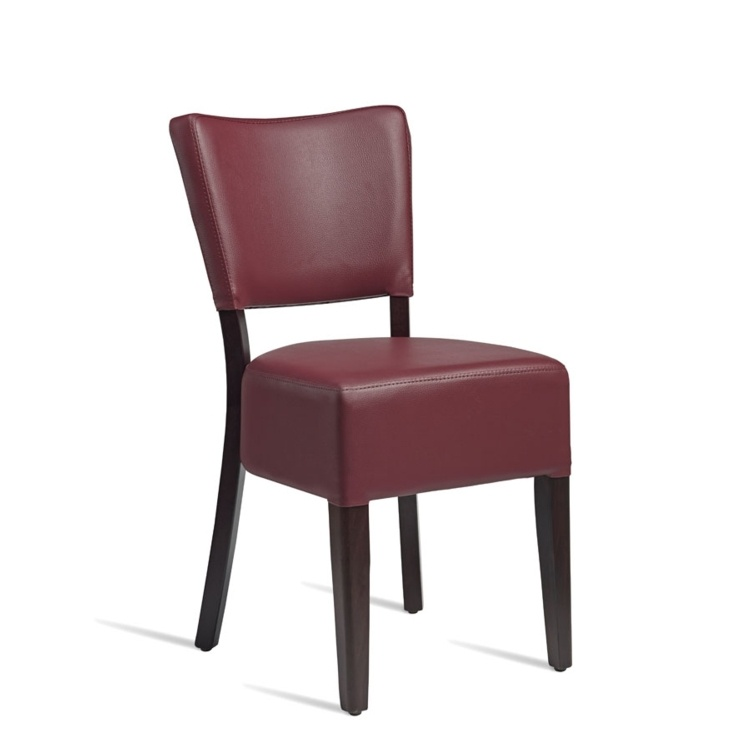New CLUB Wenge Red high quality faux leather Luxurious Side chair