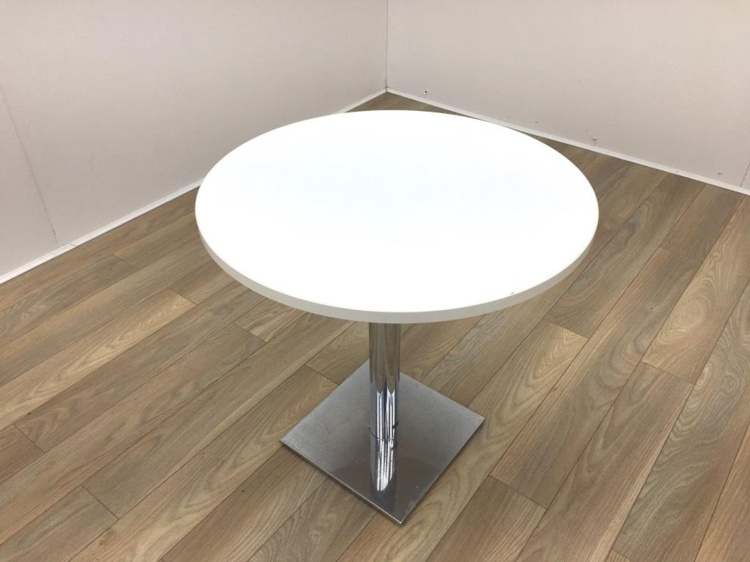 White Round Table with Chrome Base 800mm