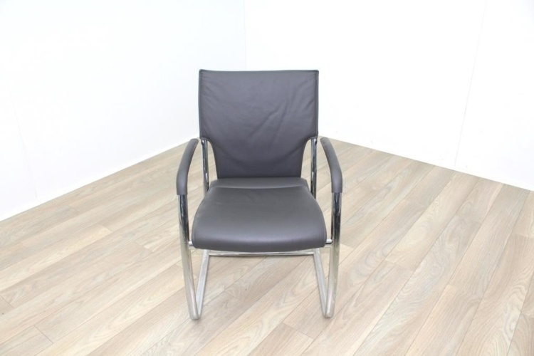 Brunner Grey Leather Cantilever Meeting Chair