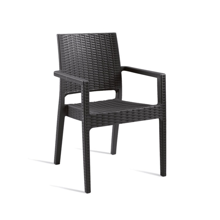 New Dark Grey Rattan Style Moulded Plastic Office Canteen Cafe Bistro Arm Chairs
