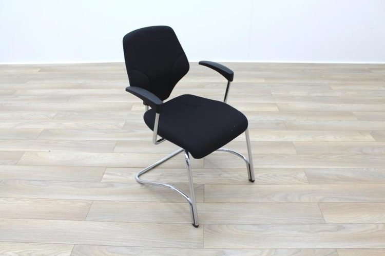 Giroflex Black Fabric Cantilever Office Meeting Chair