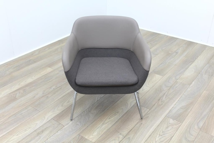 Brunner Chroma Beige Leather Back, Beige Fabric Seat Reception Tub Chair Large