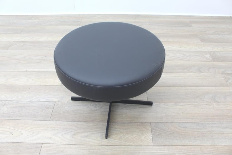 Brunner Dark Grey Leather Round Chair