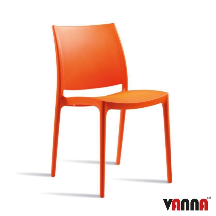 New Orange Moulded Plastic Stacking Office Canteen Cafe Bistro Meeting Chairs