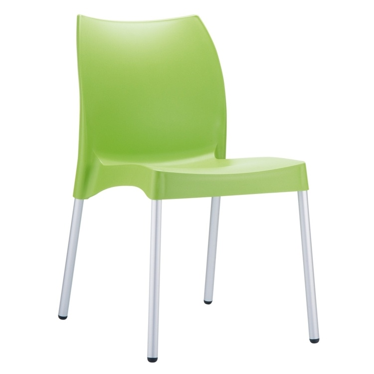 New Green Polypropylene Aluminium Leg Stacking Office Canteen Cafe Bistro Meeting Chairs
