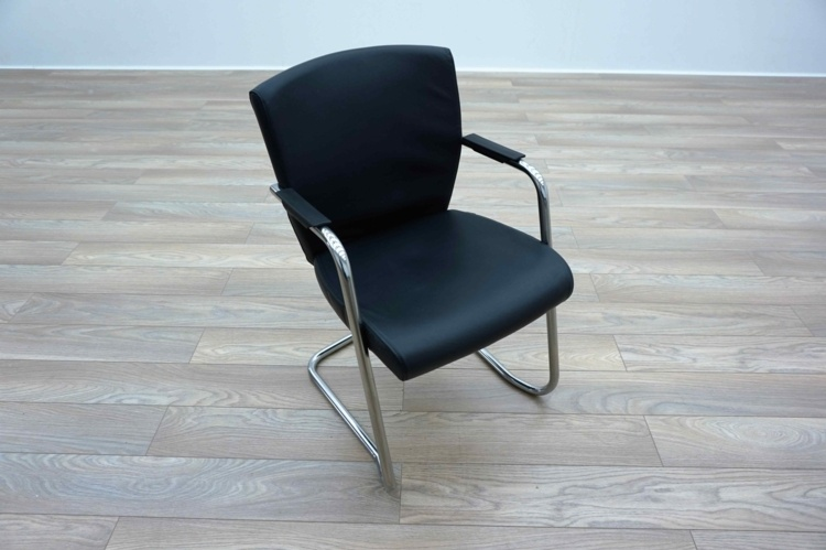 Pledge Black Leather Cantilever Office Meeting Chairs