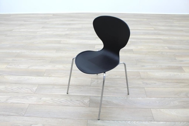 Black Plastic Stacking Office Canteen Chairs
