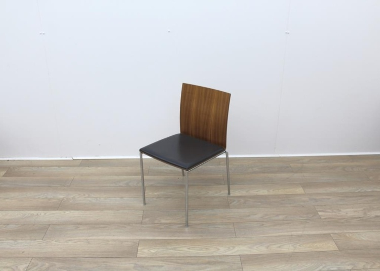 Walnut With Leather Seat Meeting Chairs