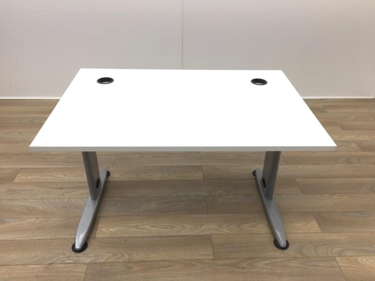 White Desk With Adjustable Frame