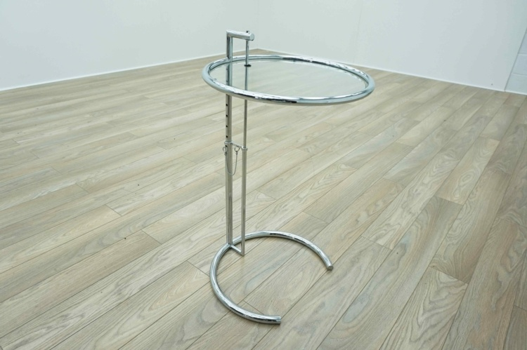 Eileen Gray Style Adjustable Circular Glass Coffee Table